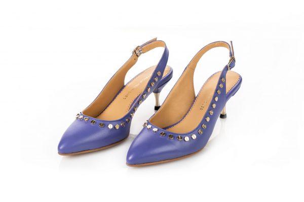Luxury Purple Leather slingbacks low heel for woman