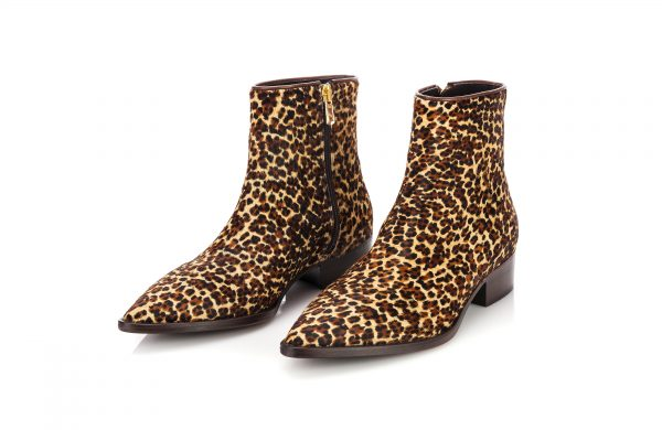 luxury ankle boots Cow leather with leopard print effect