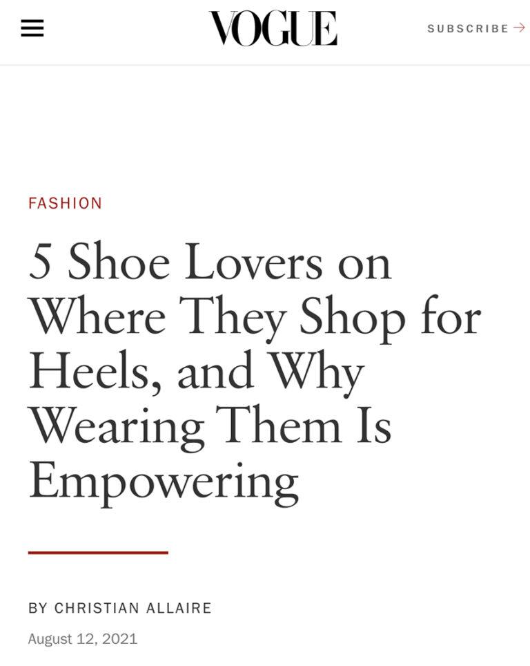 Referência à nossa marca na revista Vogue americana.